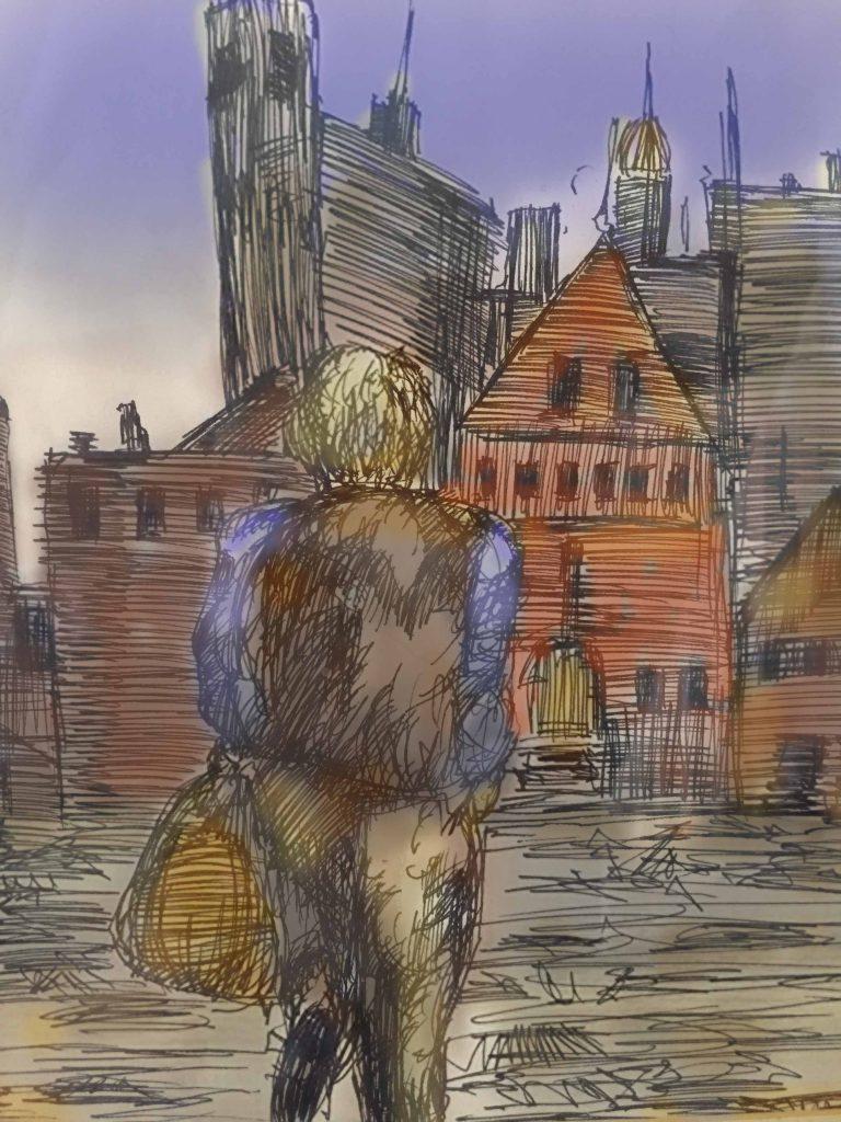 Digital color & ink storyboard in comic style.