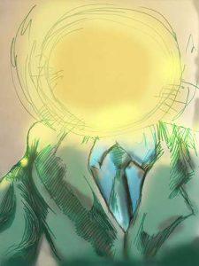 "Felt marker and digital mix, single frame from storyboard. ""Twighlight Man"" artist Nick Teti"