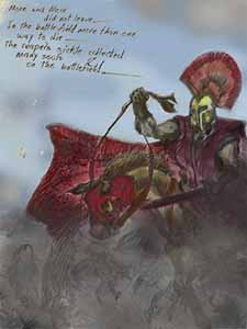 Color final rame in comic frame from Spartacus, by comic artist Nick Teti, Nicholas Teti III, Colorado USA, MisterPhoton.com 1 (720) 299-2084