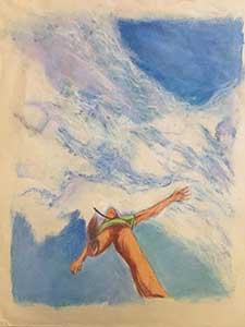 "Comic Book art, frame #3, ""Plane Ride"" by comic artist Nick Teti, (720) 299-2084, misterphoton.com"